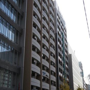 大通りに面した立派なマンション