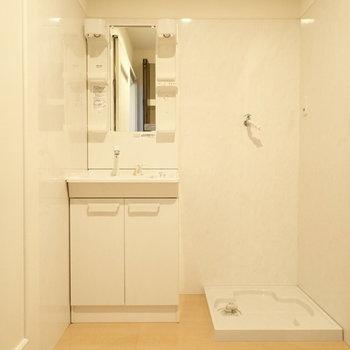 洗面台と洗濯機はとなりに。脱衣所はゆとりがあります。