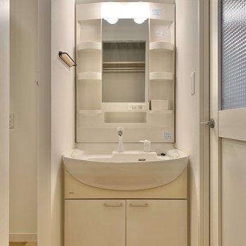 前には独立洗面台があります。※写真はクリーニング前