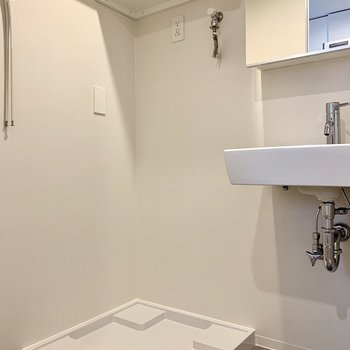 洗濯機置場上に洗剤が収納できますね