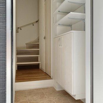 玄関はこんな感じ。靴箱隣のドアを開けるとサニタリールーム。