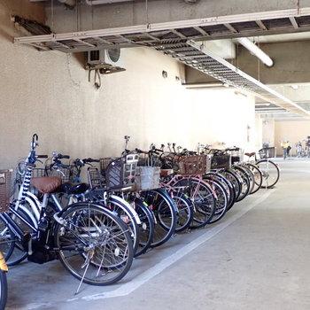 駐輪場は建物の裏手にあります。