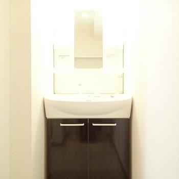 洗面台はすっぽりハマっています。