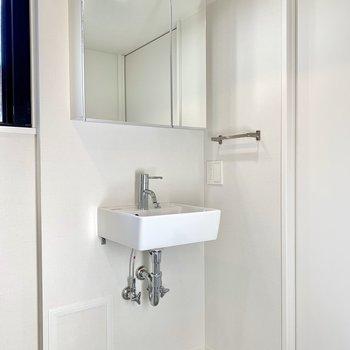 洗面台下に猫のトイレが置けるスペースがありますよ※写真は3階の同間取り別部屋のものです