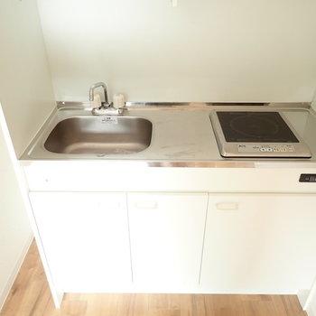 1口IHコンロですが、調理スペースはありますね!