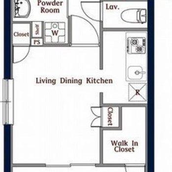 ゆったりめのバルコニーが特徴的な1LDKのお部屋。