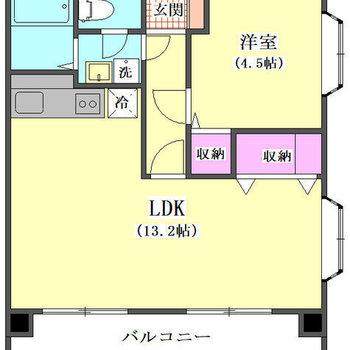 LDKがゆったりした1LDKの間取りです。
