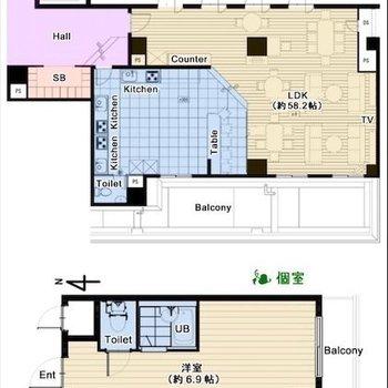 2階部分はシェアスペース。
