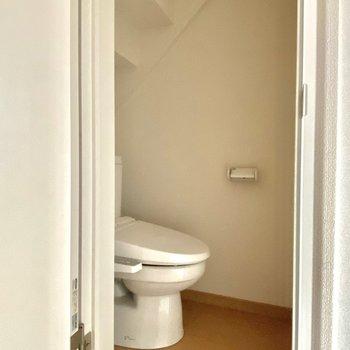 トイレの階段みたいな天井が面白い。