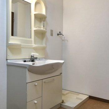 洗面台と、奥に洗濯パンがあります。