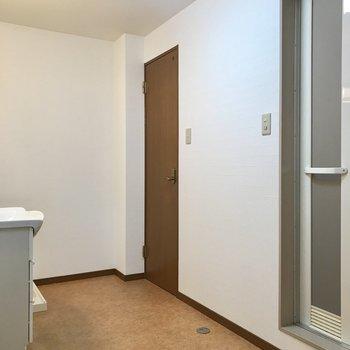 左側手前は洗面脱衣所です。持て余しちゃうくらいに広々!