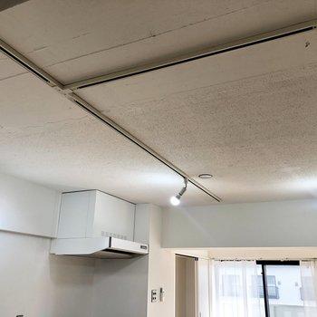このペンキを荒く塗ったような天井に、長いライティングレールの組み合わせがたまりません!※写真は4階の同間取り別部屋のものです