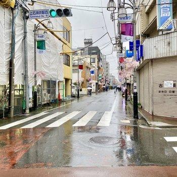 駅近くの通り。飲食店など色んなお店が並んでいます。