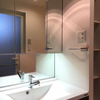 洗面台は全面鏡。(※写真は6階の同間取り別部屋のものです)