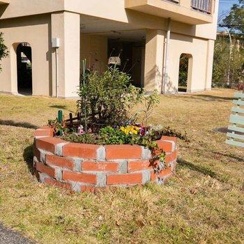 こちらは「みんなの庭」。住人の有志の方が綺麗に管理してくださっている花壇です。