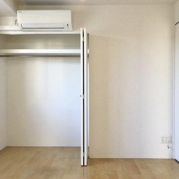 【洋室】クローゼットは大きめなのでたっぷり収納できそう。