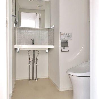 脱衣所を開ければ洗面台とトイレが一緒に顔を見せてくれます。※フラッシュを使用しています