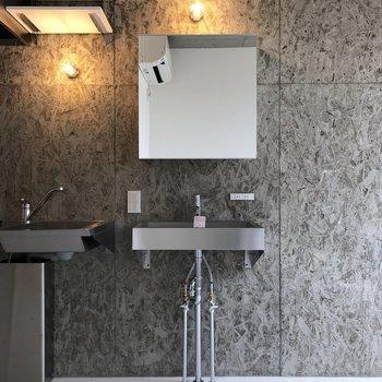 こんなシルバーのかっこいい洗面台、見たことない!※写真は3階の同間取り別部屋のものです
