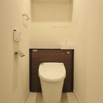 トイレには小さな手洗い場があります