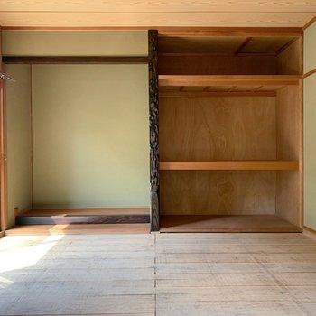 〈1階和室〉安心の押入れ収納もあります。(※写真は畳と襖設置前のものです)