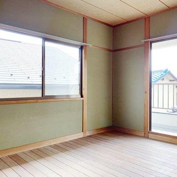 〈2階和室〉お布団敷くなら家族みんなでも眠れそう。(※写真は畳と襖設置前のものです)