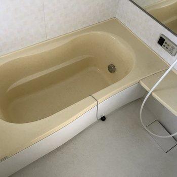 お風呂はちょうどいいサイズ。鏡付きっ※写真は2階の同間取り別部屋、通電前のものです