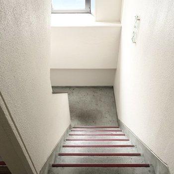 共用部はほぼ階段のみ。窓があって明るい空間。