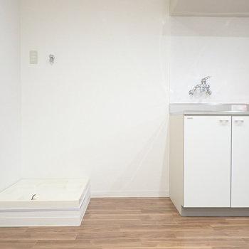 隣に冷蔵庫と、洗濯機です。