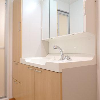 洗面台は洗濯パンの左に。大きな鏡にたくさんの収納…!