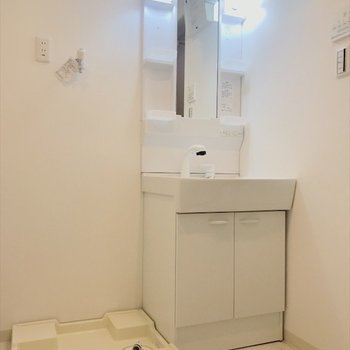 洗面台、洗濯パンが一緒に並んでいます。※写真は2階同間取り・別部屋のものです。