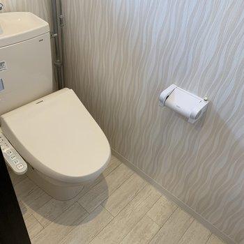 おトイレはやさしいデザイン。明るいなぁ、、