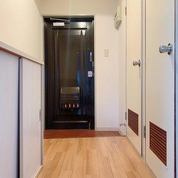 廊下部分、手前がトイレで奥が脱衣所です◯