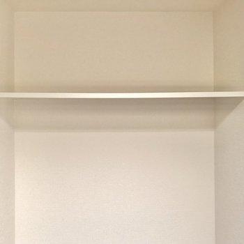 上には棚も。トイレットペーパーなどのストックを置いておくのに◯