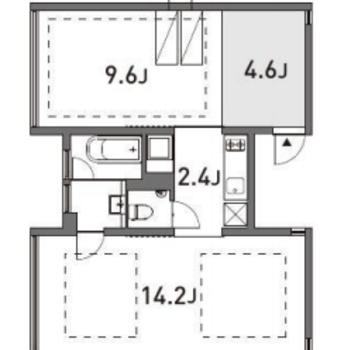 約14帖の空間が2つ。真ん中にキッチンがあります。