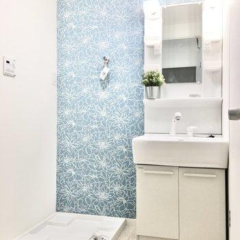 サニタリールームは水色で爽やかに。