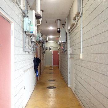 【共用部】廊下はすこし暗めかな。