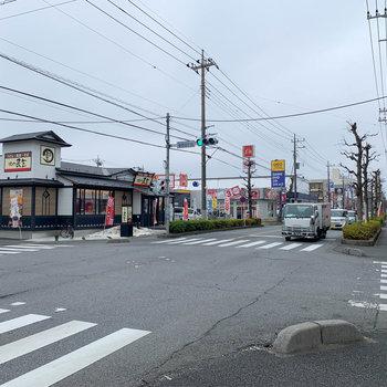 マンションの左がに大通り。飲食店やレンタルビデオ店などがあります。