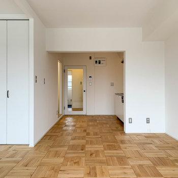 【LDK】クローゼットの右奥、キッチンがあります。右の壁にはテレビのアンテナが。