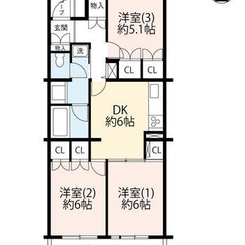 ひとつひとつのお部屋にゆとりがある3DKです