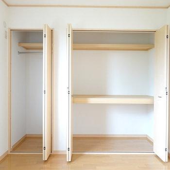 収納はハンガーパイプ付きと、押入れタイプ! どちらも収納力がありそうな感じ。(※写真は1階の同間取り別部屋のものです)