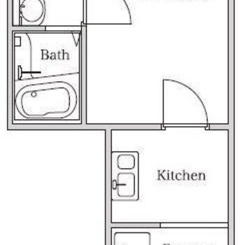 キッチンのスペースが広めの1Kタイプ。