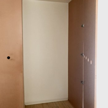 収納は大きめですが、棚などはないので設置した方が使い勝手が良さそうです。