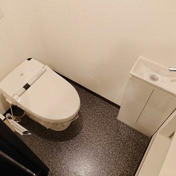 手前にトイレ。手洗器付きなんです。棚も付いており、機能的。