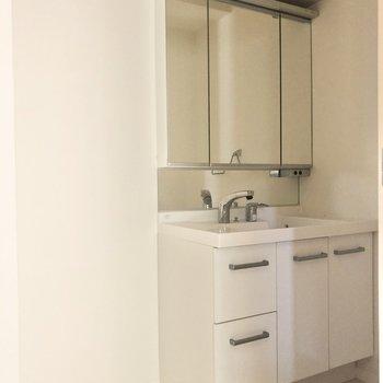 次はキッチン奥の洗面台と洗濯機置き場です。 鏡裏にも収納があります。※通電前のためフラッシュ撮影をしています