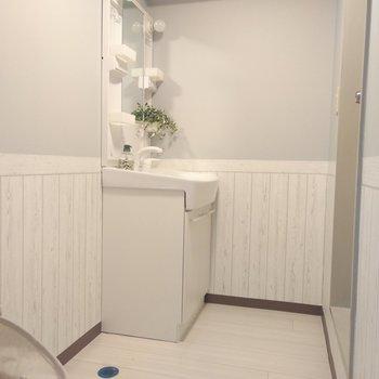 脱衣所は洗濯機、洗濯物入れを置くスペースもあって広々♪
