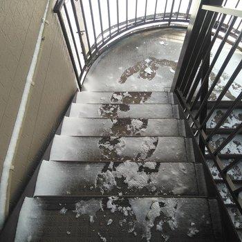 共用部分の階段は屋外にあります。冬場は歩行注意ですね