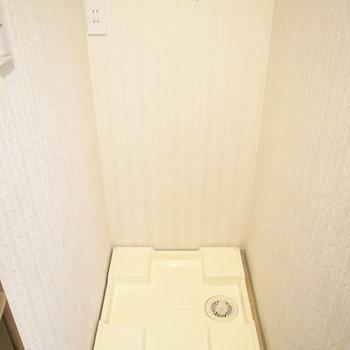 【1F】洗面台の背面に洗濯パンがあります。