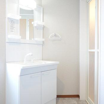 脱衣所右手には棚付きの洗面台とお風呂。