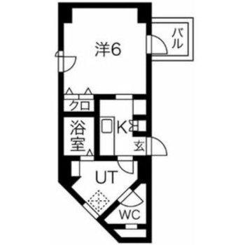 最上階の角部屋の1Kです。