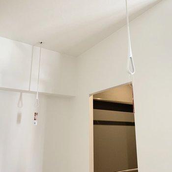クローゼットの入り口には室内物干。
